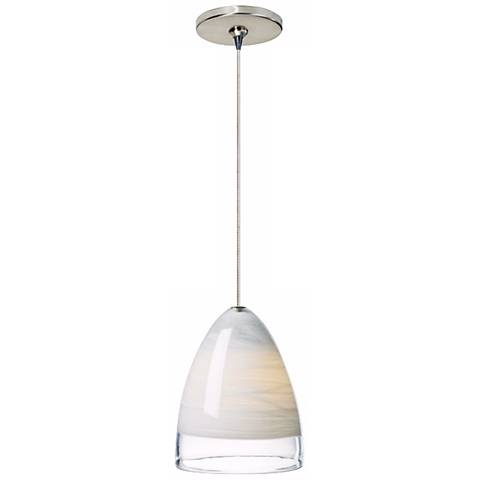 Nebbia White Glass Satin Nickel Tech Lighting Mini Pendant