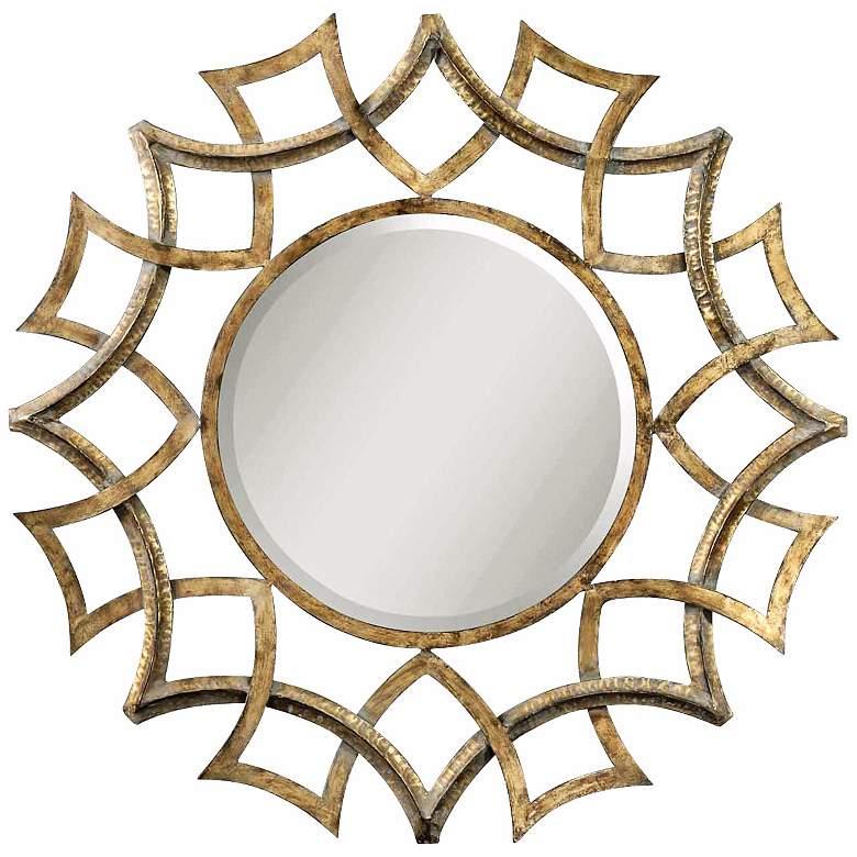 """Uttermost Golden Voyage 40"""" Round Wall Mirror"""