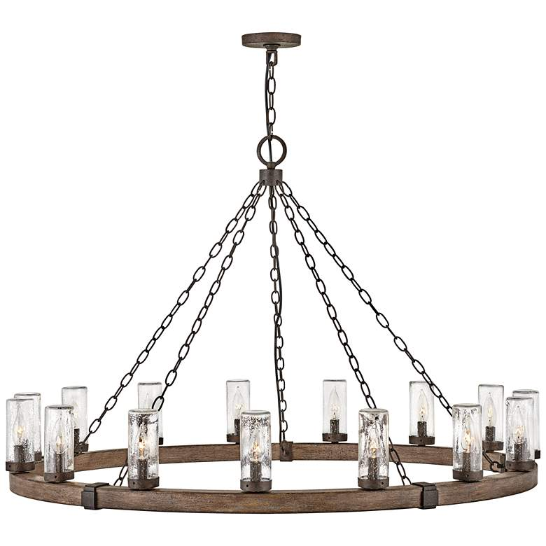 "Hinkley Sawyer 46""W Sequoia 15-Light Outdoor Ring Chandelier"
