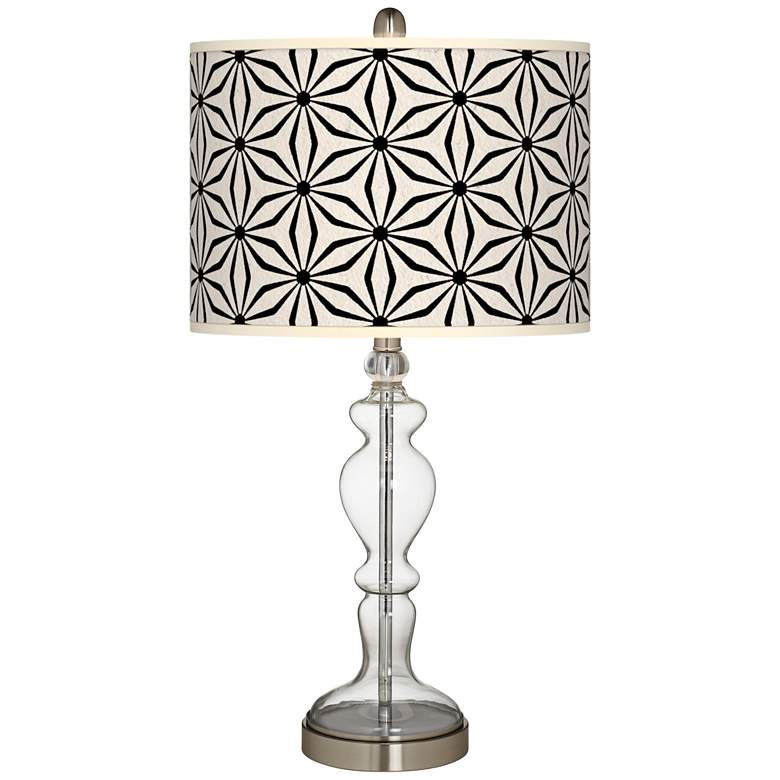 Kaleidoscope Flowers Giclee Apothecary Clear Glass Table Lamp