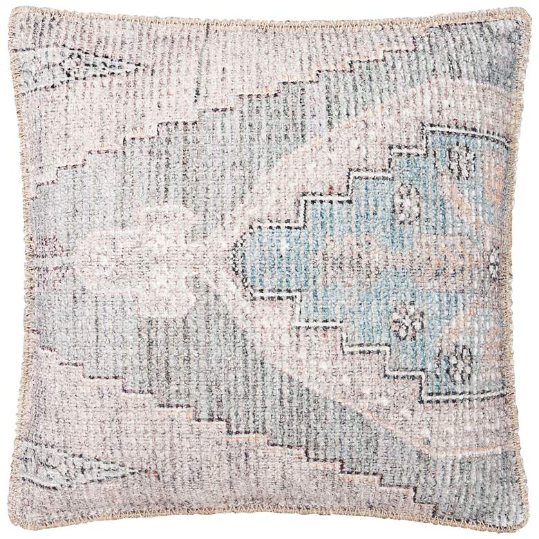 """Loloi Blue and Gray Abstract 18"""" Square Throw Pillow"""