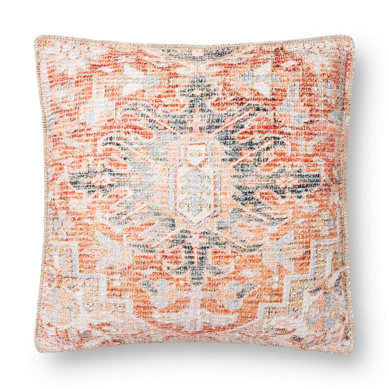 """Loloi Rust and Navy Abstract 18"""" Square Throw Pillow"""