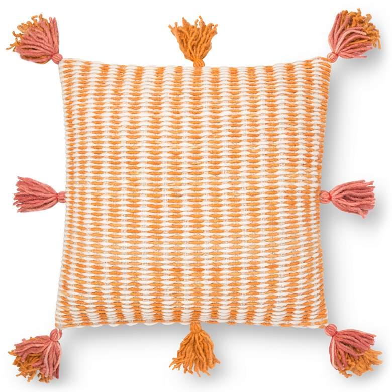 "Loloi Pink w/ Orange Geometric 22"" Square Throw"