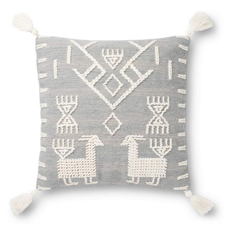 """Loloi Gray and Ivory Llama 22"""" Square Throw Pillow"""