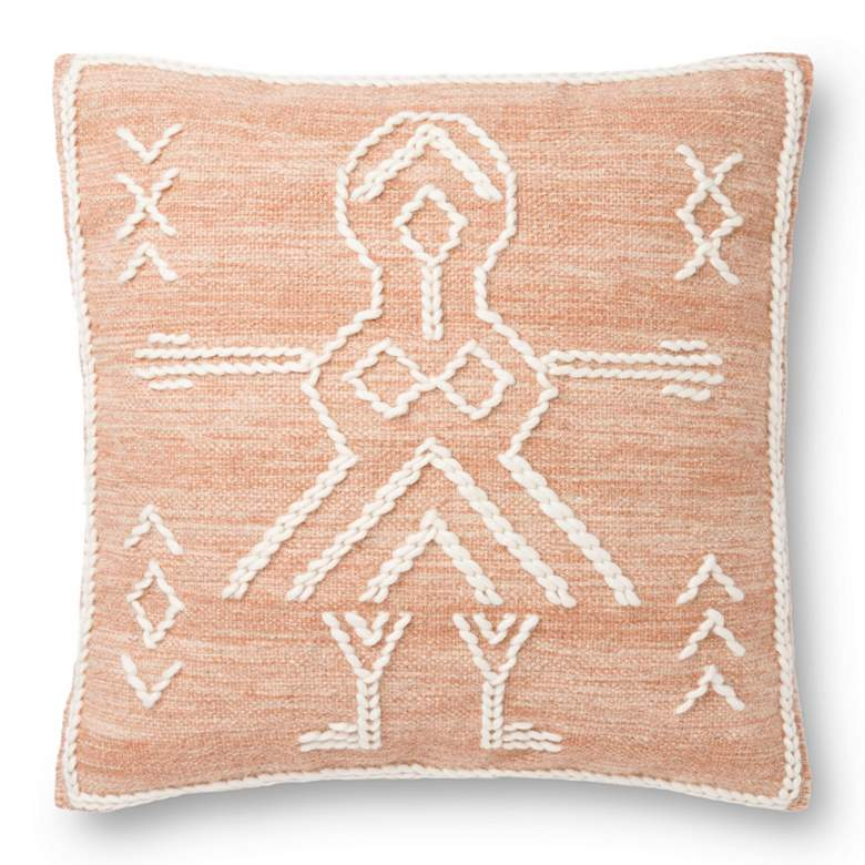 """Loloi Rust and Ivory Tribal 22"""" Square Throw Pillow"""