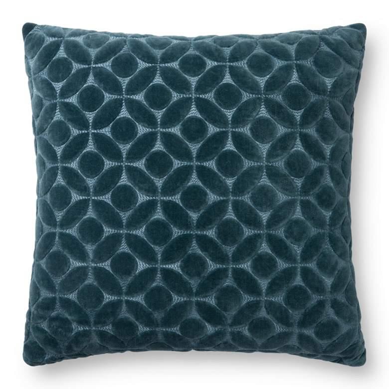 "Loloi Teal Geometric 22"" Square Throw Pillow"