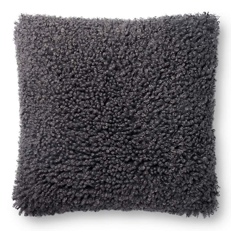 "Loloi Charcoal 22"" Square Decorative Throw Pillow"