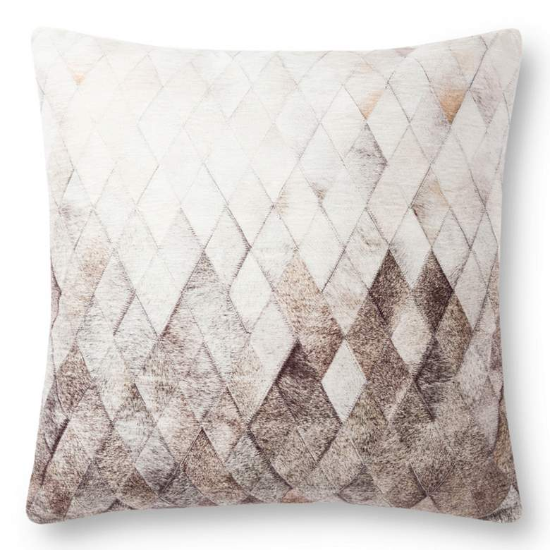 """Loloi Gray Cowhide 22"""" Ombre Square Decorative Throw Pillow"""