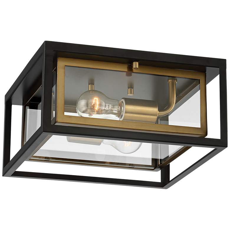 """Kie 12"""" Wide Black-Gold Double Box Outdoor LED Ceiling Light"""