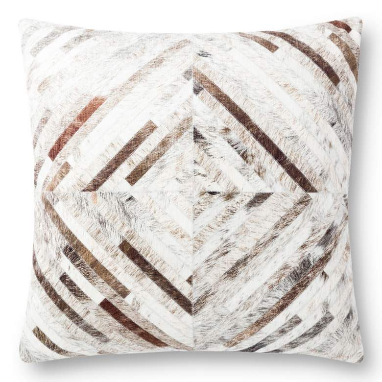 """Loloi Gray Cowhide 22"""" Square Lines Decorative Throw"""