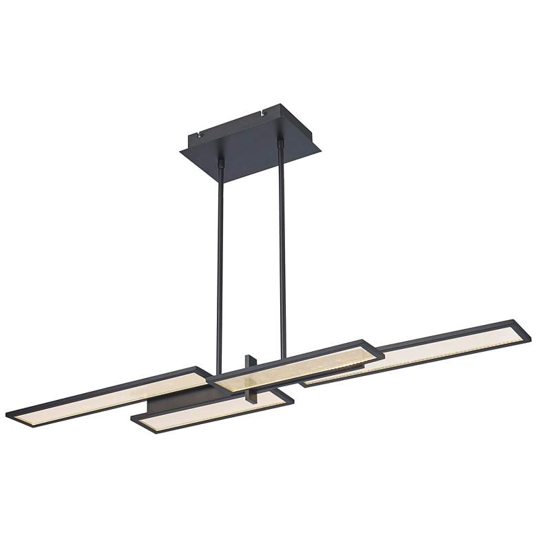 "Bayswater 46""W Matte Black 4-Light LED Island Pendant Light"