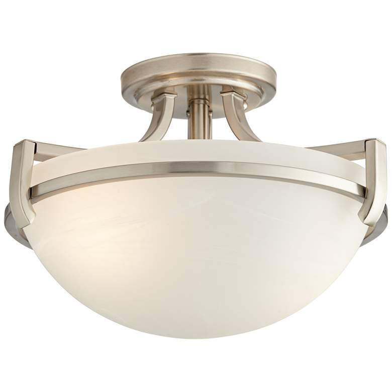 "Mallot 13"" Wide Nickel and Champagne Glass Ceiling Light"