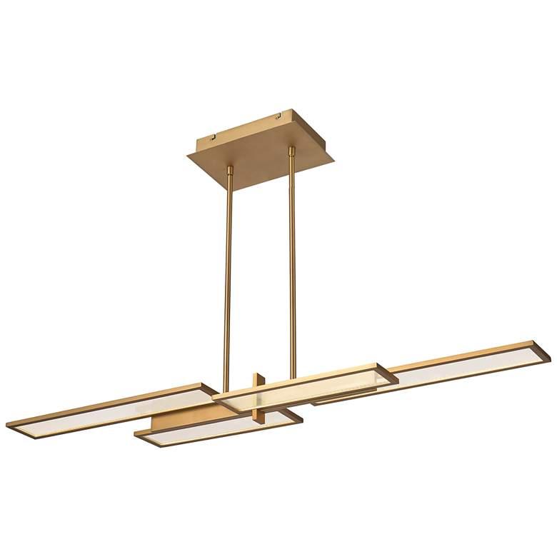 "Bayswater 46""W Satin Gold 4-Light LED Island Pendant Light"