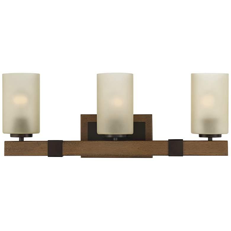 """Duncan 24"""" Wide Bronze and Wood 3-Light Bar Bath Light"""