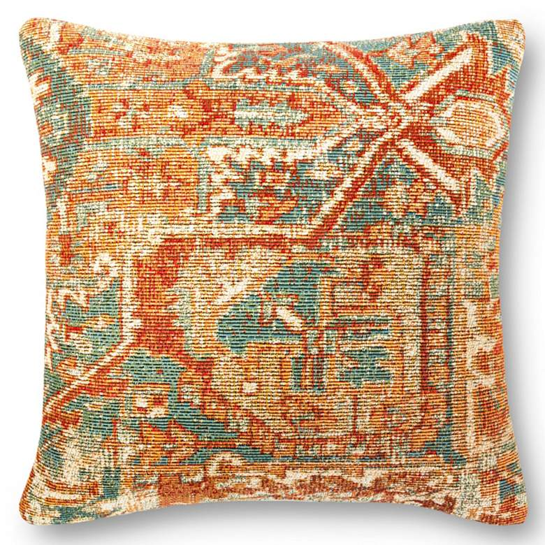 "Loloi Orange 22"" Square Outdoor Throw Pillow"