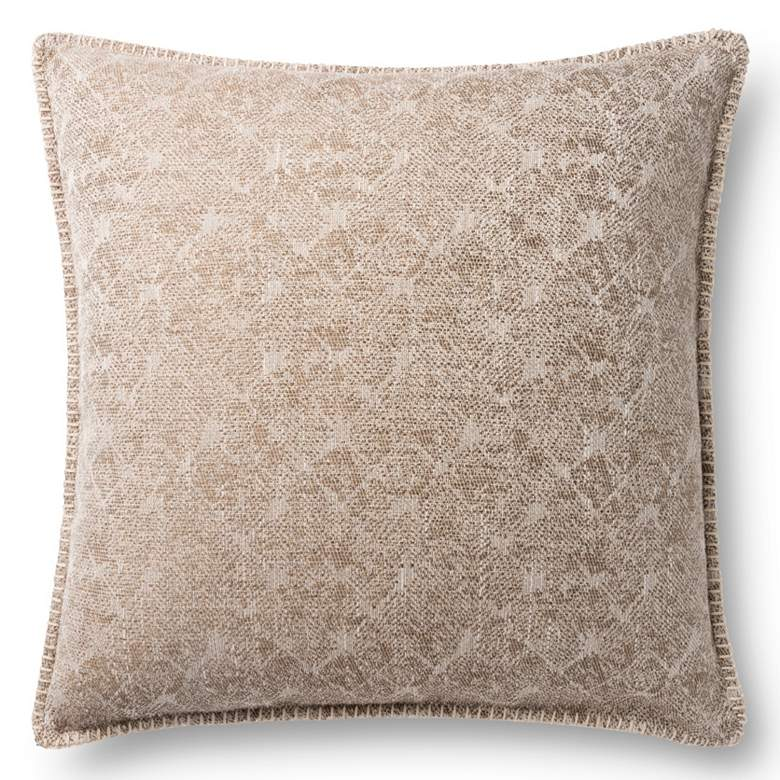 """Loloi Beige Jacquard Abstract 22"""" Square Throw Pillow"""