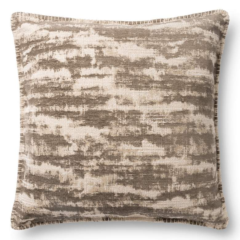 """Loloi Beige Abstract 22"""" Square Throw Pillow"""