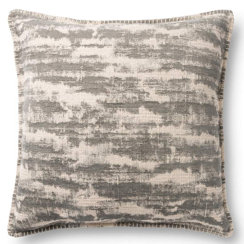 """Loloi Gray Abstract 22"""" Square Throw Pillow"""