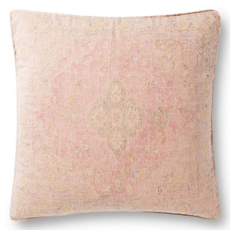 """Loloi Red and Gold Abstract 22"""" Square Throw Pillow"""