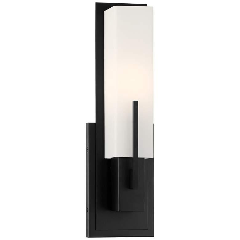 "Possini Euro Midtown 15"" High White Glass Black Wall Sconce"