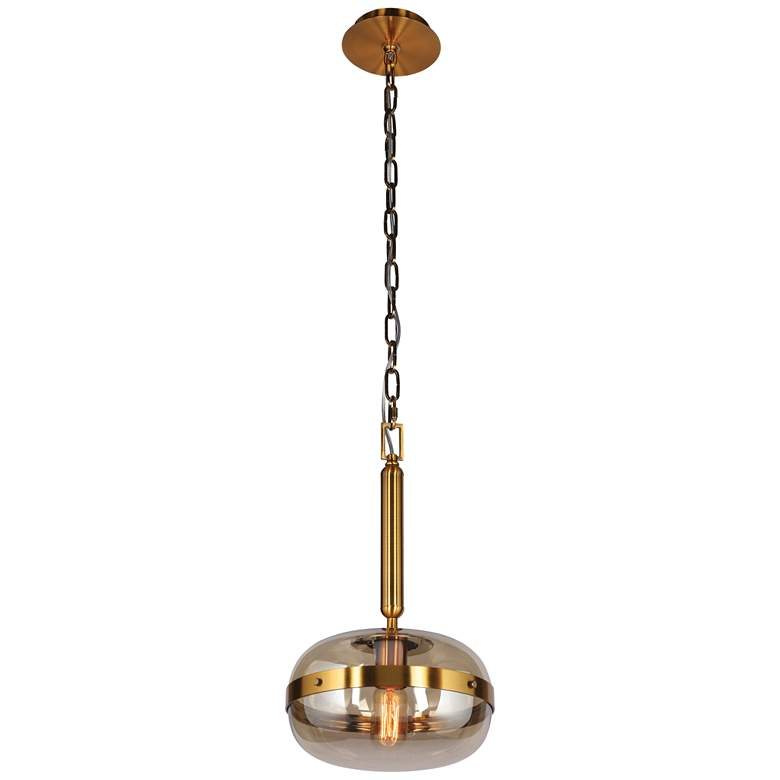 "Eurofase Nottingham 10"" Wide Amber Glass Mini Pendant Light"