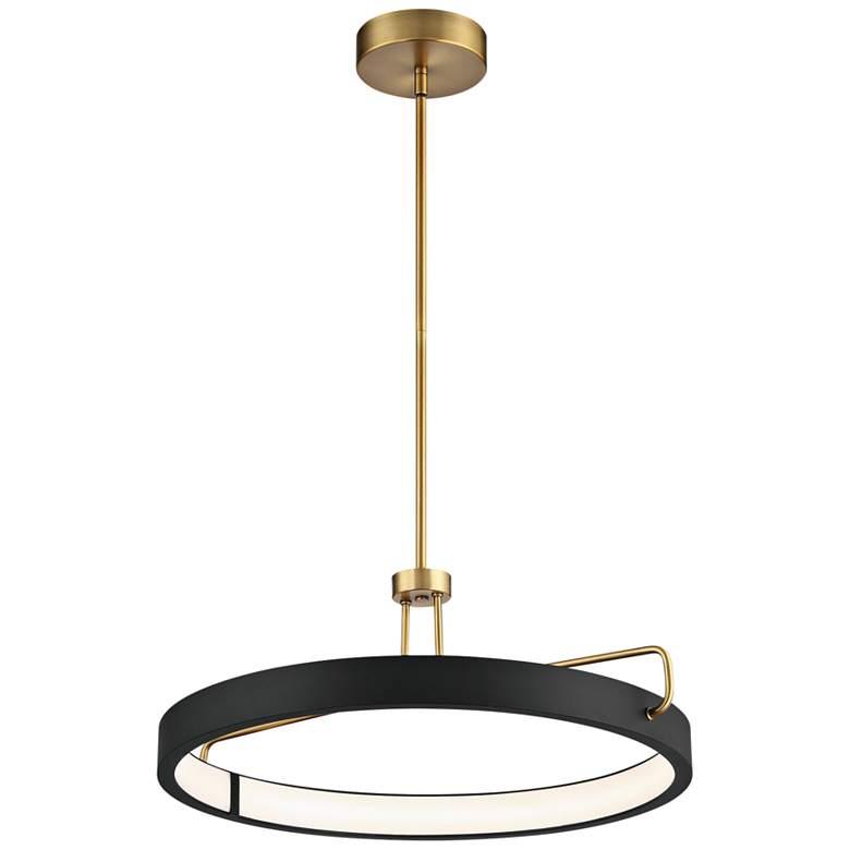 "Pemberton 26""W Black Antique Brass Ring LED Pendant Light"