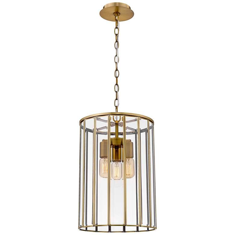 "Eurofase Saville 12 1/4""W Brass 3-Light Caged Pendant Light"