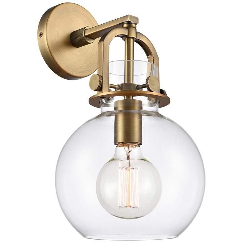 "Newton 14"" High Brushed Brass Globe Glass Wall Sconce"