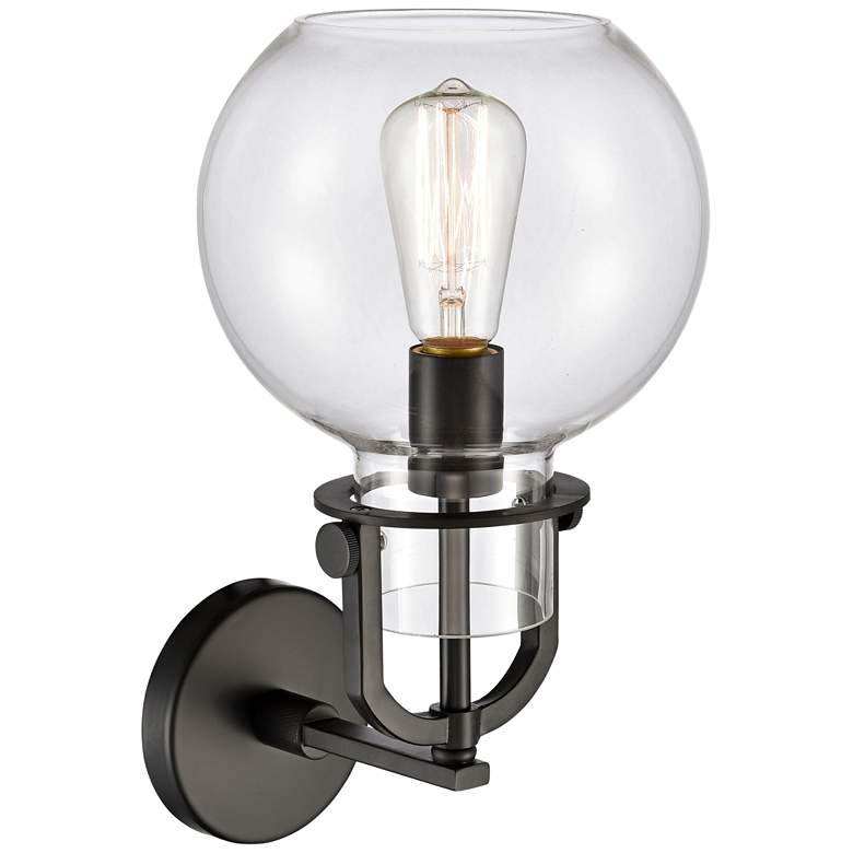 "Newton 14"" High Matte Black Globe Glass Wall Sconce"