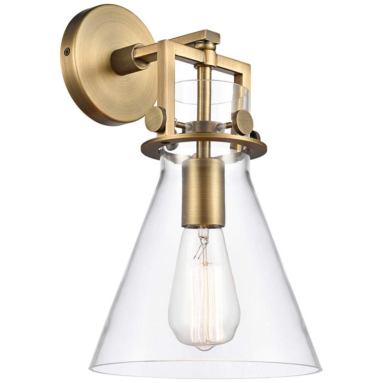 """Newton 14""""H Brushed Brass Truncated Cone Glass Wall Sconce"""