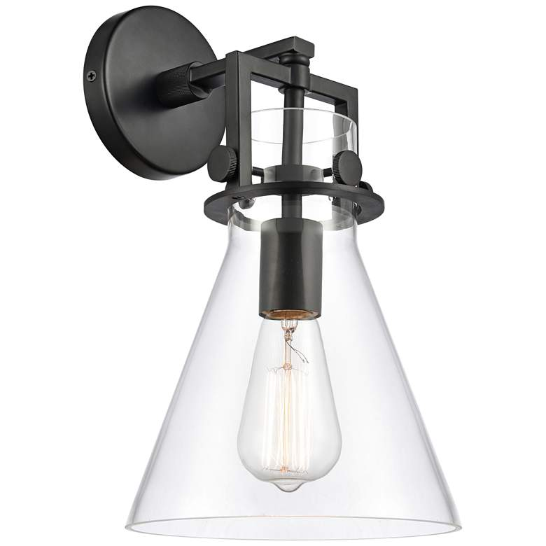 """Newton 14"""" High Matte Black Truncated Cone Glass Wall Sconce"""
