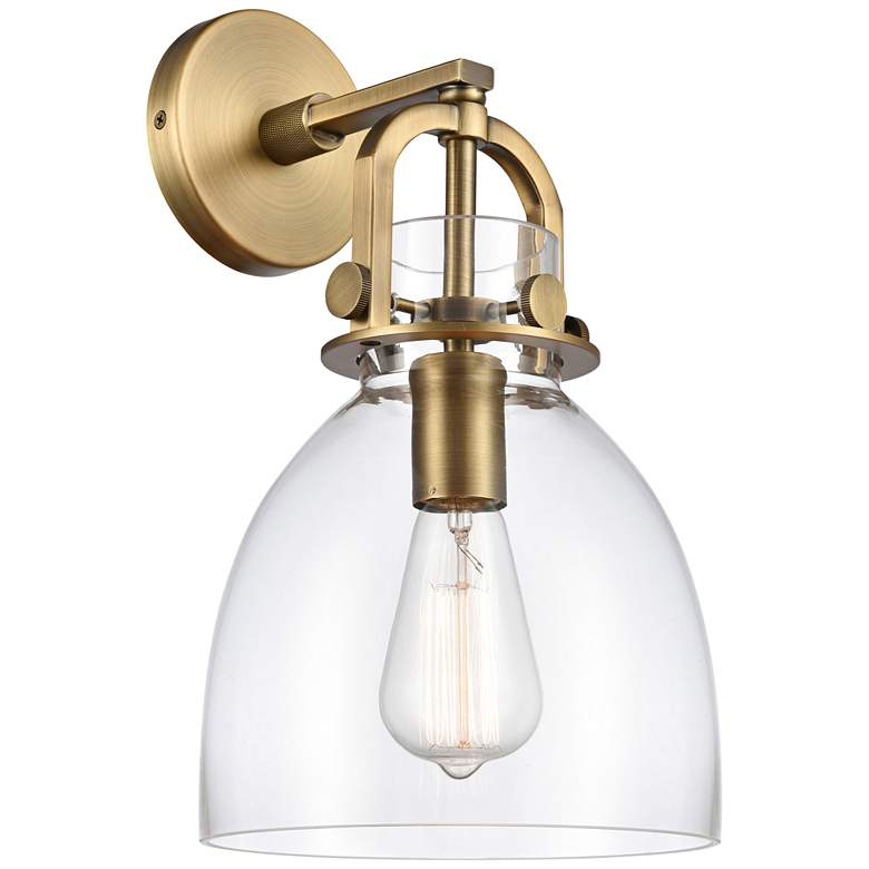 """Newton 14 1/2"""" High Brushed Brass Dome Glass Wall Sconce"""