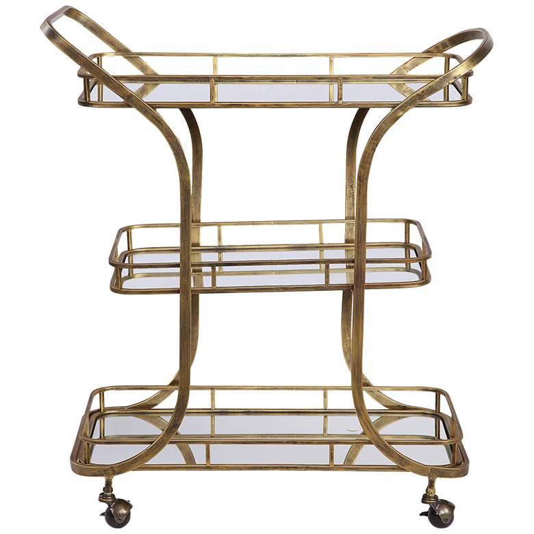 """Uttermost Stassi 33"""" Wide Antiqued Gold Serving Cart"""