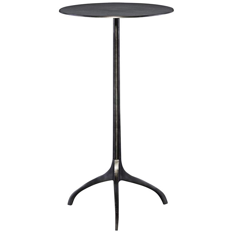 "Uttermost Beacon 14"" Wide Antique Nickel Tripod Accent Table"