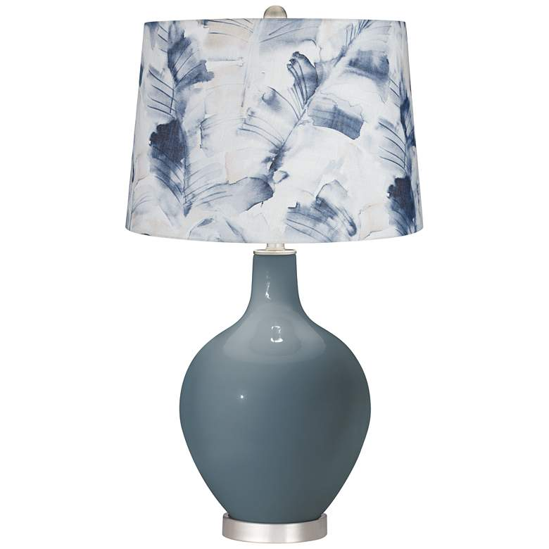 Smoky Blue Watercolor Palm Shade Ovo Table Lamp