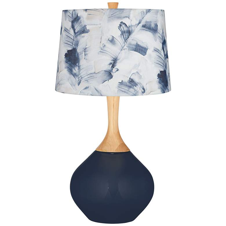 Naval Blue Watercolor Palm Shade Wexler Table Lamp