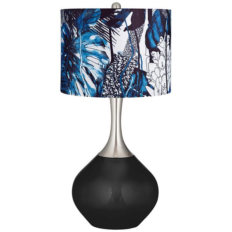 Tricorn Black Blue Leaves Shade Spencer Table Lamp