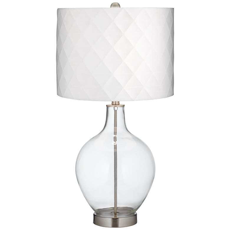 Clear Glass Off-White Diamond Shade Ovo Table Lamp