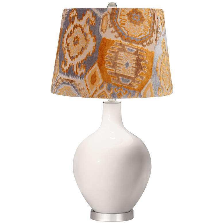 Smart White Orange Velvet Shade Ovo Table Lamp