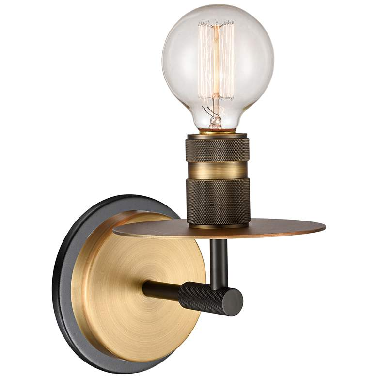 """Aurora 6 3/4"""" High Black and Brushed Brass Metal Wall Sconce"""