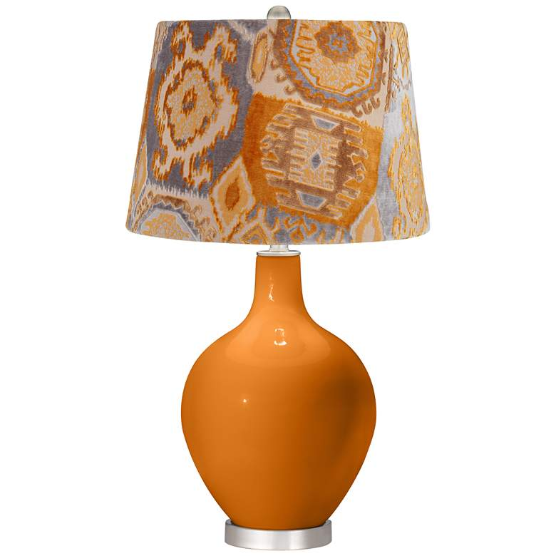 Cinnamon Spice Orange Velvet Shade Ovo Table Lamp