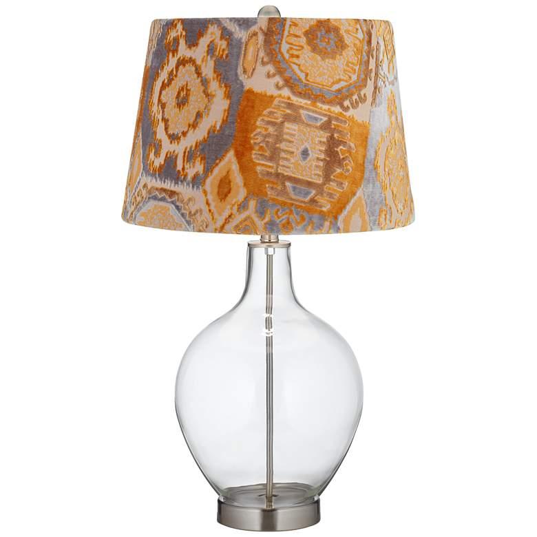 Clear Glass Orange Velvet Shade Ovo Table Lamp
