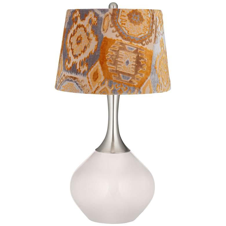 Smart White Orange Velvet Shade Spencer Table Lamp
