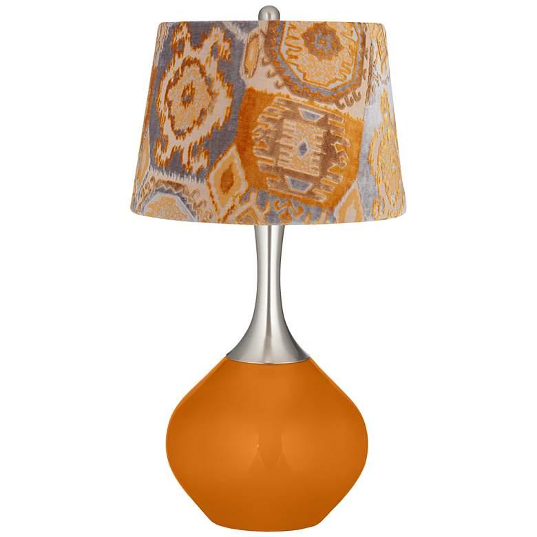Cinnamon Spice Orange Velvet Shade Spencer Table Lamp