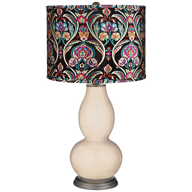 Steamed Milk Multi-Color Embroidered Double Gourd Table Lamp