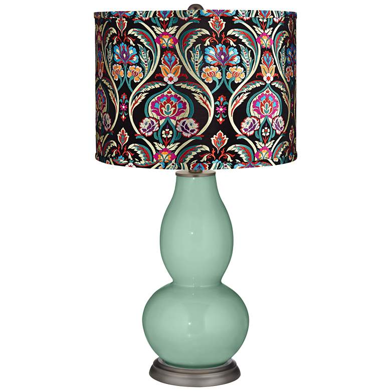 Grayed Jade Multi-Color Embroidered Double Gourd Table Lamp