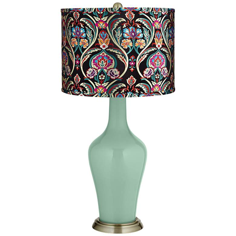 Grayed Jade Multi-Color Embroidered Shade Anya Table Lamp