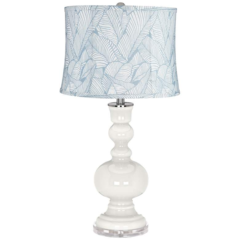 Winter White Grange Blue Leaf Shade Apothecary Table Lamp