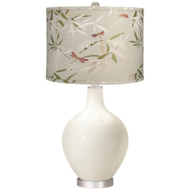 West Highland White Golden Bamboo Shade Ovo Table