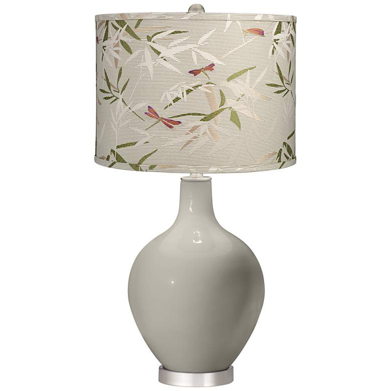 Requisite Gray Golden Bamboo Shade Ovo Table Lamp
